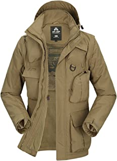 Men's Big&Tall Cotton-Padded Jacket Hooded Coat with Detachable Sleeves