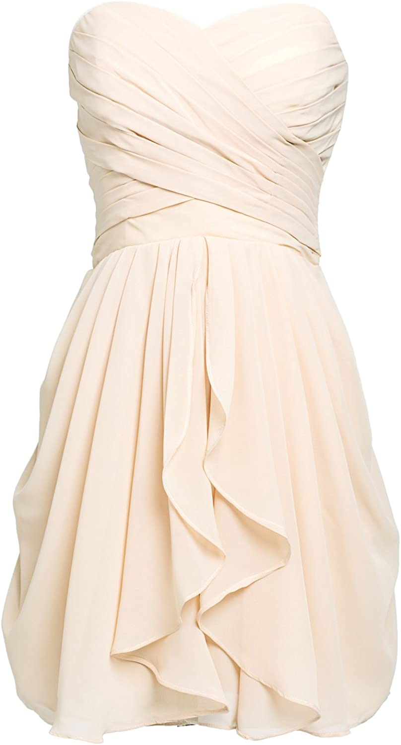 Sarahbridal Juniors Prom Dresses Strapless Chiffon Short Bridesmaid Party Gowns Pleats Champagne US12