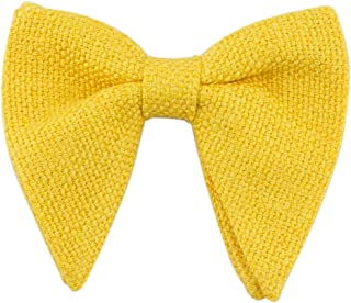 Lovacely Mens Oversized Knitted Woven Bow Tie Solid Color Tuxedo Pre-Tied Big Bowtie