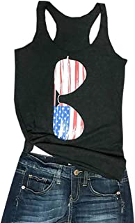 American Flag Sunglasses Racerback Tank Tops Women's USA Patriotic Sleeveless Shirt Tee Blouse