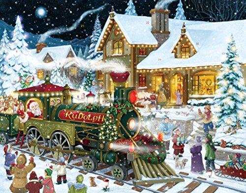 Calendario de Adviento con dibujo de tren