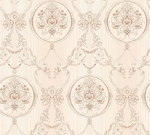 A.S. Création Vliestapete Hermitage 10 Tapete klassisch neo-barock 10,05 m x 0,53 m creme metallic rosa Made in Germany 330835 33083-5