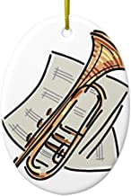 Diuangfoong Trumpet and Sheet Music Ceramic Ornament Oval