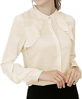 [エンジェルムーン] スタンドカラーシャツ レディース フリル 長袖 立ち襟 きれいめ エレガント バンドカラー OL 通勤 上品