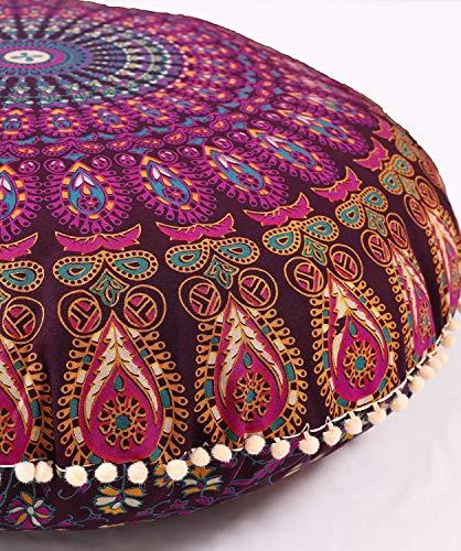 Popular Handicrafts Large Hippie Mandala Floor Pillow Cover - Cushion Cover - Pouf Cover Round Bohemian Yoga Decor Floor Cushion Case- 32 Magenta
