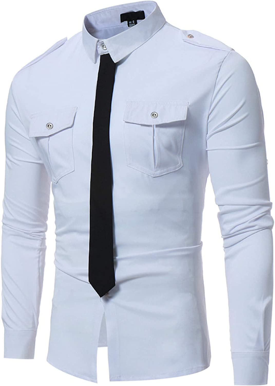 Camisa Decorativa de Corbata Falsa de Color de Contraste de Personalidad Masculina con Costura de Dos Bolsillos Ropa de Calle Tendencia Camisas de Manga Larga