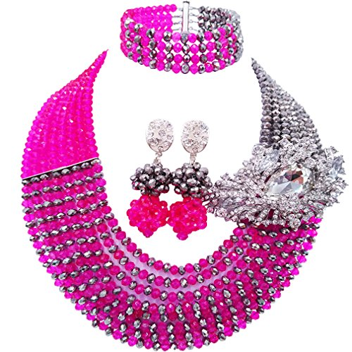 aczuv 8 Rows African Bead Necklace Jewelry Set for Women Nigerian Wedding Bridal Jewelry Sets (Hot Pink Silver)