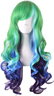 Long Wavy Multi-Color Wig Heat Resistant Wig for Cosplay Girls Party Wig 24 Inches, Green and Blue