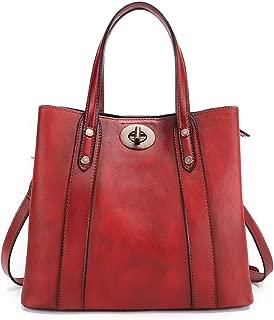 Shoulder Vintage Genuine Leather Satchel Handbag for Women Handmade Colored Crossbody Big Capacity Tote Bag