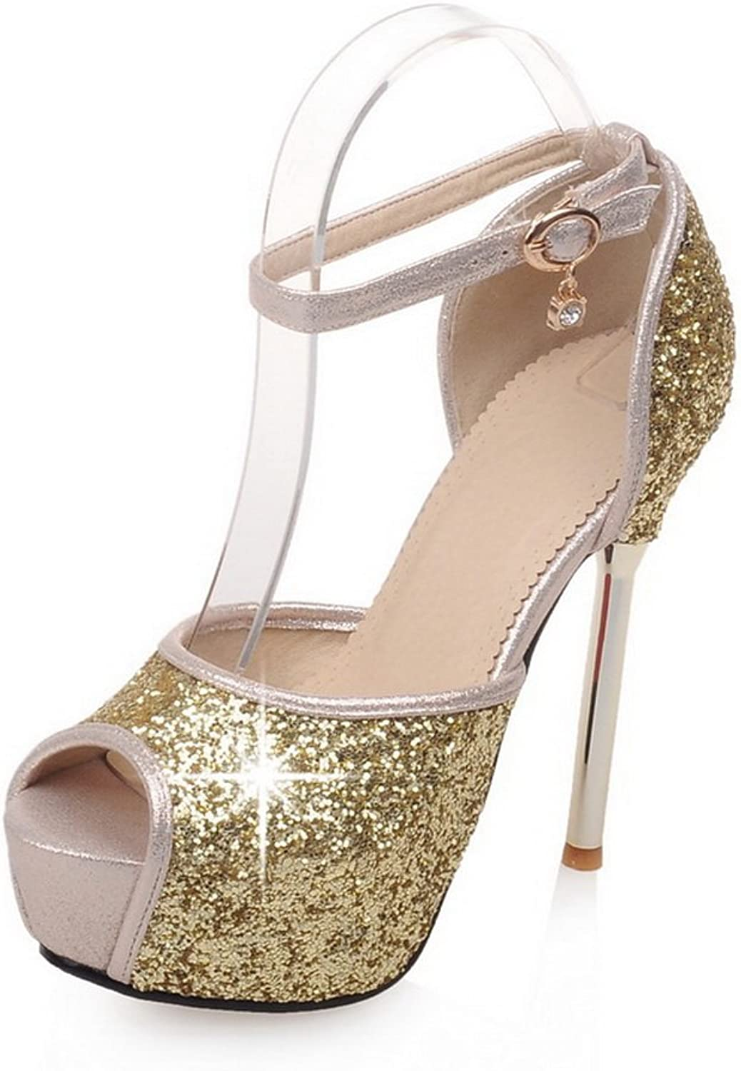 BalaMasa Womens Studded Rhinestones Metal Buckles Ankle Cuff Soft Material Pumps-shoes