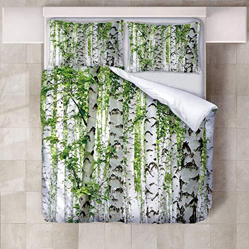 ZFSZSD Bettbezug weiße Birke Doppelbett/Bettbezug 155 x 220 cm Bettwäsche Set - Bettbezug und Kissenbezug,Mikrofaser,3D Digital Print dreiteiliger Bettwäsche