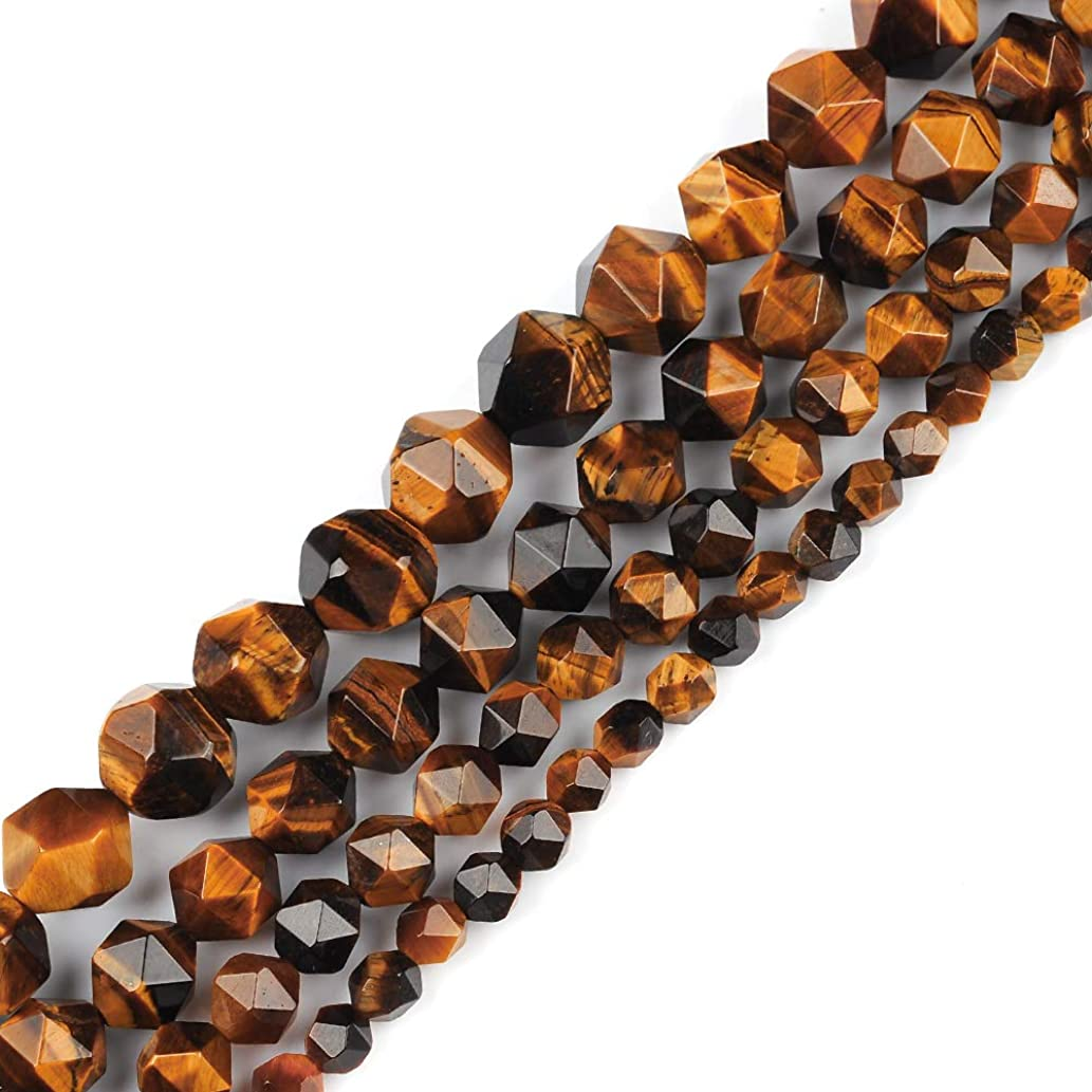 6mm 8mm 10mm 12mm AAA Grade Faceted Beads Natural Stone Beads DIY Precious Gemstone Loose Strand Beads for Jewelry Making Perles Semi (Tiger Eye, 8MM)