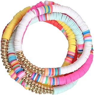 5 Pcs Colorful Sliced Clay Beaded Bracelets Handmade Polymer Clay Beads Strand Bracelets Boho Surf Rainbow Bracelets Frien...