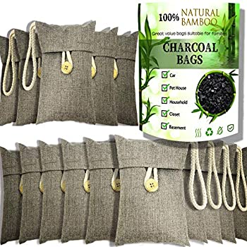 wyewye Activated Bamboo Charcoal Bags for Car Closet Shoe Home Basement Litter Box Cigarette Smoke Gym Bag 15Packs×100g