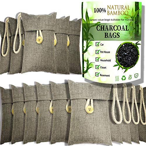 wyewye Activated Bamboo Charcoal Bags for Car Closet Shoe Home Basement 15P