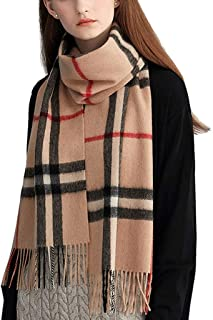 CCF Shawl Scarf Both Uses Woman Student Lattice Keep Warm 180cm×30cm V (Color : Camel)