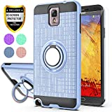 YmhxcY Note 3 Case,Galaxy Note 3 Case with HD Phone Screen Protector, 360 Degree Rotating Ring & Bracket Dual Layer Resistant Back Cover for Galaxy Note 3,Note III,N9000,N9005-ZH Metal Slate-2