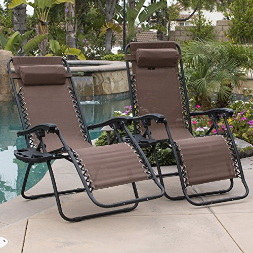 BELLEZE 2PC Outdoor Zero Gravity Chair Lounge Chairs Recliner Seat Yard Beach Adjustable Headrest w/Cup Holder Tray, Brown
