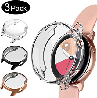 Case Compatible with Samsung Galaxy Watch Active 40mm, NAHAI TPU Slim Plated Scractch-Resist Case All Around Protective Bumper Shell Cover for Galaxy Watch Active Smartwatch, 3 Pack Black/Clear/Gold