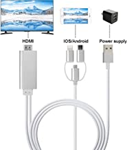 ZFKJERS 3 in 1 Phone to HDMI Cable, Mirroring Cellphone Screen to TV/Projector/Monitor Adapter, 1080P Resolution for iOS and Android Devices (Silver)