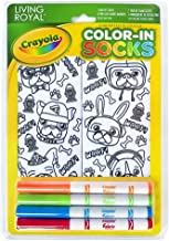 Living Royal Crayola Kid's Color-in Socks - Includes 1 Pair of Socks and 4 Fabric Markers (Puppy Vibes)