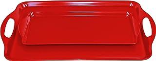 Calypso Basics Rectangular and Tidbit Serving Tray Set, Red