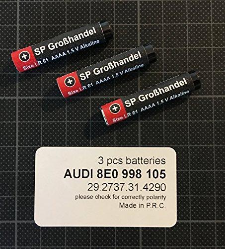Lot de 3 piles AAAA LR61 4061 4961 MN2500 Raccourcie env. 39,8 mm 1,5 V pour télécommande Audi ou divers systèmes de fenêtres tels que Weru Secur, ROTO