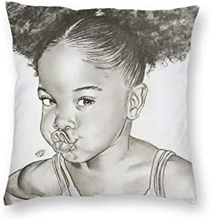 antcreptson Velvet Black Girl Throw Pillow Cases,African American Afro Girl,Pillow Covers Decorative 18x18 in Pillowcase Cushion Covers with Zipper