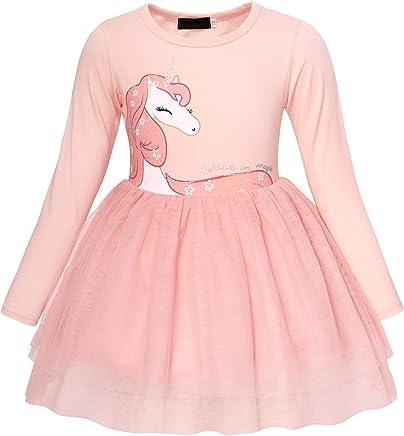 Cotrio Unicorn Dress Girls Strappy Backless Toddler Birthday Party Fancy Sundress