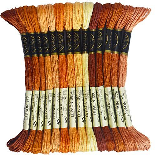 Premium Rainbow Color Embroidery Floss - Cross Stitch Threads - Friendship Bracelets Floss - Crafts Floss - 14 Skeins Per Pack Embroidery Floss, Golden Brown Gradient