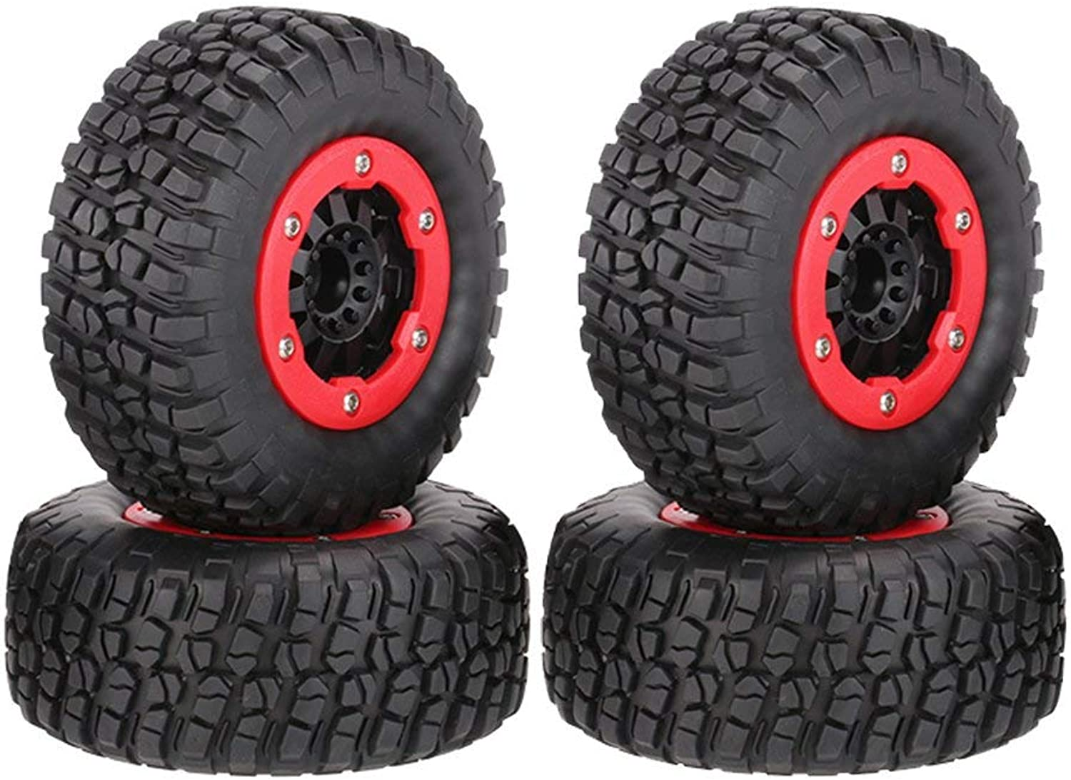 WONFAST 4PCS High Performance 110mm 1 10 Short Course Truck Tires with Wheel Rim for All 1 10 RC Terrain