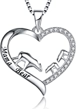 MUATOGIML 925 Sterling Silver Mother and Child Mama Bear Love Heart Pendant Necklace Family Jewelry Gifts for Women Mom Daughter