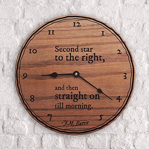 Reloj de pared con citas de cuento de hadas y hadas segunda estrella a la derecha y luego directamente en hasta la mañana J.M Barre Quot Silencioso estilo toscano reloj de madera decoración del hogar