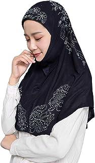 CRIZAN Muslim Islam Crystal Headscarf Hijabs Cap for Women Girl Cotton Long Scarf Wrap