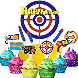 49 Pieces Happy Birthday Cupcake Toppers Target Cake Toppers War Cake Decorations War Cake Topper for Kids Birthday Party Supplies