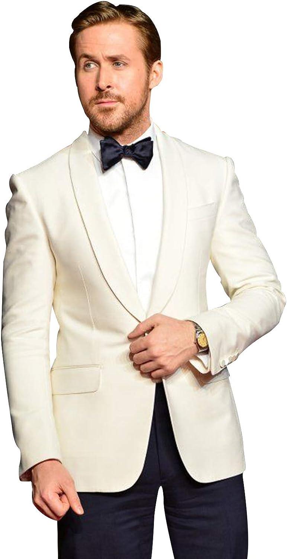 P&G Men's Suit Shawl Lapel Slim Fit Two Pieces Suit Casual Formal Wedding Party
