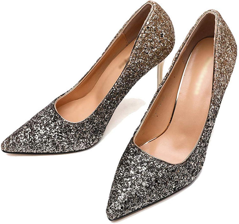 Womens Pumps,Thin Heel Elegant Bling Sequined Rhinestone Champagne Wedding Pump