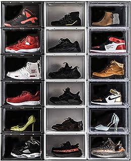 Ensemble De 18 Boîte À Chaussures, Organisateur De Chaussures Empilables, Chaussures en Plastique Armoire De Rangement ave...