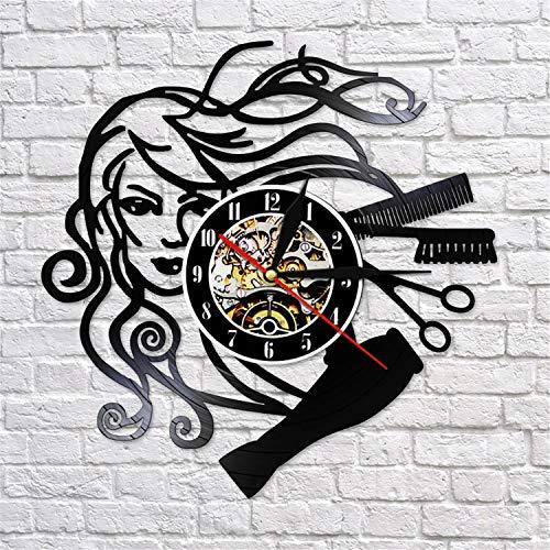 LBJZD Reloj de Pared Reloj De Pared con Disco De Vinilo para Salón De Belleza, Peluquería, Peluquería, Peluquería, Reloj De Pared Hecho A Mano, Regalos De Peluquería para Mujer Sin Luz Led