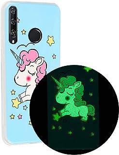 جراب خلفي من Mylne ذو تأثير مضيء لهاتف Huawei Y6P، يضيء في الظلام من مادة TPU جل مرن نحيف باللون الأخضر الغامق