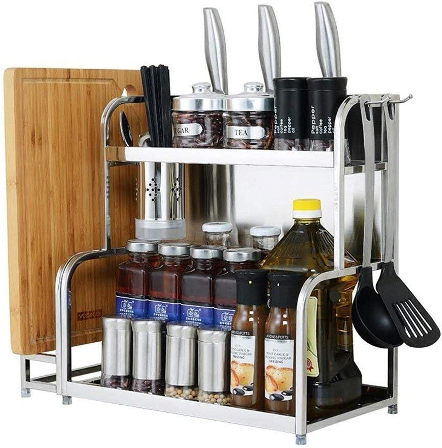 Storage Rack- Stainless Steel Kitchen Rack Floor Multi-Layer Storage Household Space Knife Holder Seasoning Spice Rack ZXMDMZ (Size   40CM)