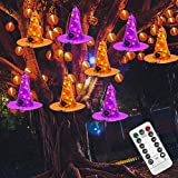 Twinkle Star Halloween Decorations 8 Pcs Lighted Hanging Witch Hats, 14ft 56 LEDs Halloween Indoor Outdoor Remote Control String Lights, Battery Powered with 8 Lighting Modes for Garden, Yard, Tree