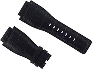 24MM LEATHER WATCH BAND STRAP FOR 46MM BELL & ROSS MODEL BR-01-92-SR WATCH BLACK