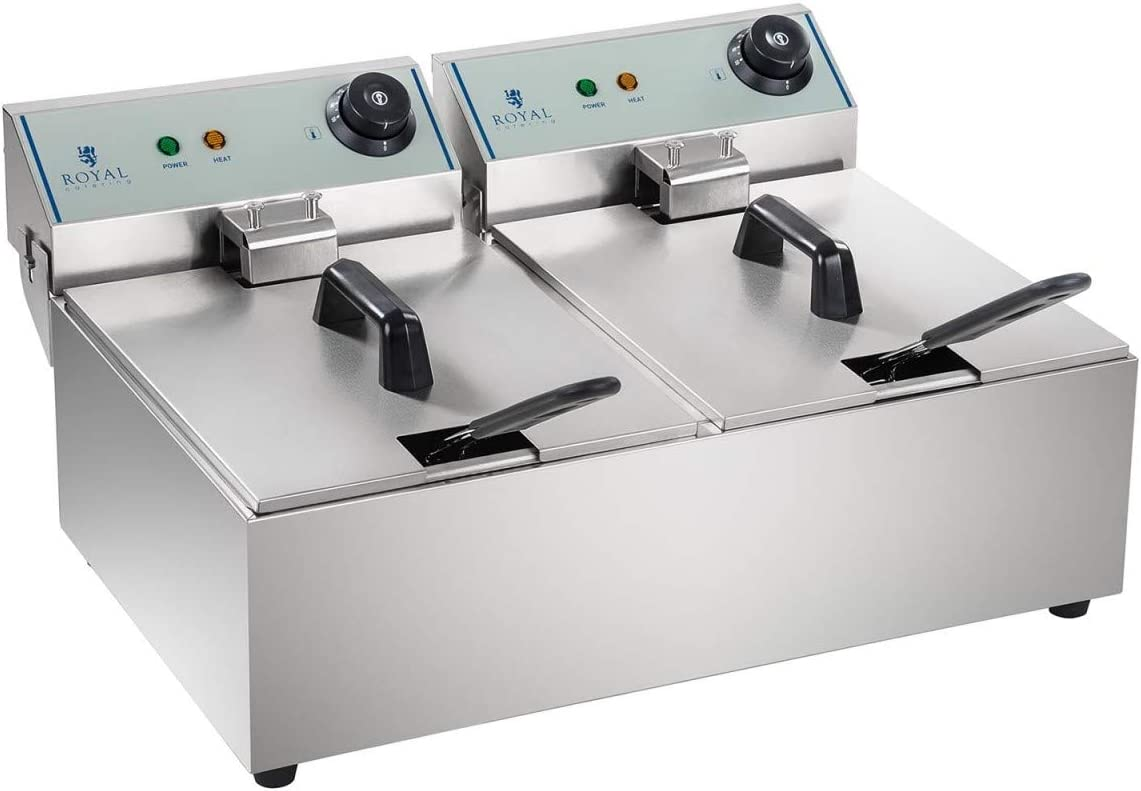 Royal Catering Freidora Industrial Profesional RCEF-10DY-ECO (doble con doc cestas 2 x 10 Litros, 2 x 3.200 W, 230 V, Termostato, Acero Inoxidable)