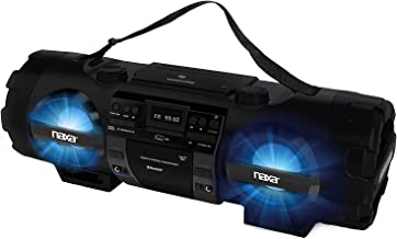Naxa MP3/CD Bass Reflex Boombox & PA System with Bluetooth and BASS and USB Playback, 6 Ft Cable Bundle Included