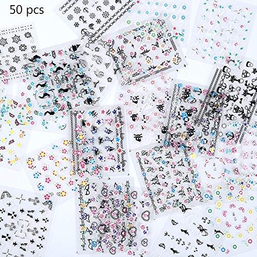50 Hojas Pegatinas Uñas, Pegatinas Flores Uñas, Arte Uñas para Mujeres Decoración Manicura Uñas (Selección Estilo Aleatorio)