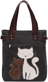 Kaukko Women Canvas Handbag Shoulder Bag Cat Big Tote Bag