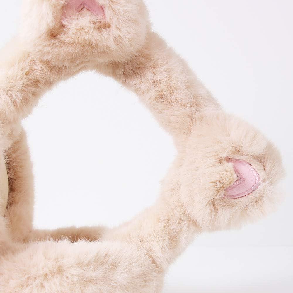 Winter Faux Fur Earmuffs for Women, Kids, Girls, Teen Skii Snowboarding Ear Warmers Soft Cat Design Pink color