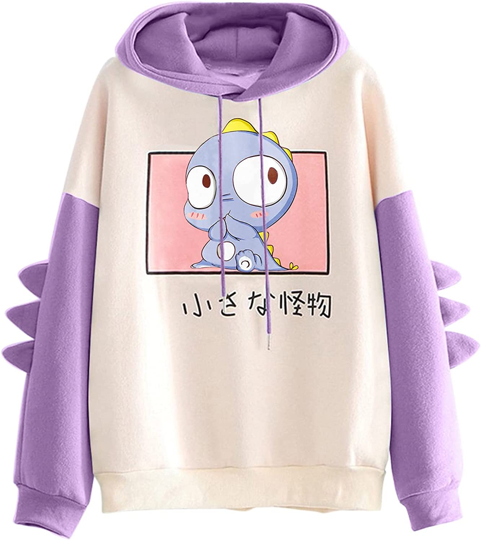 Womans Hoodies Japanses Cute Dinosaur Spliced Pullover Blouse Shirts Kawaii Long Sleeve Hooded Streetwear