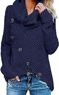 Women Turtleneck Sweater Plus Size Long Sleeve Pullover Asymmetric Hem Wrap Coat with Button Shirt Hoodies Outwear